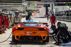 Pit stop for #81 8 Star Motorsports Ferrari 458 Italia: Enzo Potolicchio, Rui Aguas, Matteo Malucelli