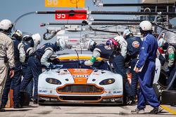 Pit stop for #96 Aston Martin Racing Aston Martin Vantage V8: Stuart Hall, Jamie Campbell-Walter