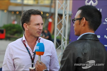 Christian Horner, Red Bull Racing Team Principal with the media