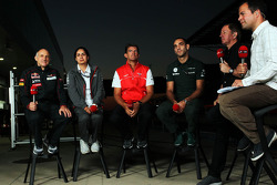 (L to R): Franz Tost, Scuderia Toro Rosso Team Principal with Monisha Kaltenborn, Sauber Team Principal, Graeme Lowdon, Marussia F1 Team Chief Executive Officer, Cyril Abiteboul, Caterham F1 Team Principal, Martin Brundle, Sky Sports Commentator and Ted K