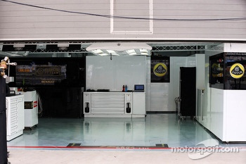 Lotus F1 Team pit garage