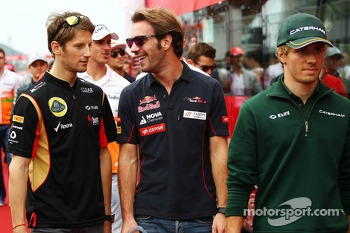 (L to R): Romain Grosjean, Lotus F1 Team with Jean-Eric Vergne, Scuderia Toro Rosso and Charles Pic, Caterham on the drivers parade