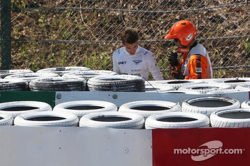 Jules Bianchi, Marussia F1 Team crashed at Degner 2 in the first practice session