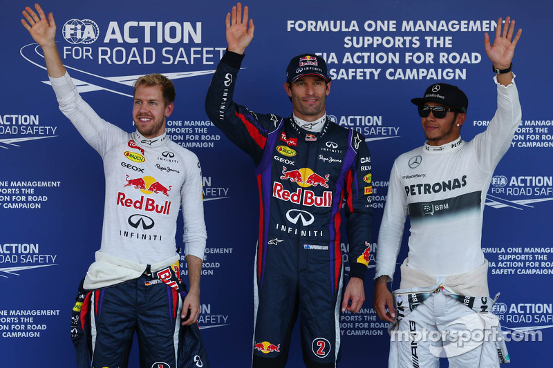 Polesitter Mark Webber, second place Sebastian Vettel, third place Lewis Hamilton