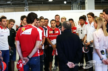 Jean Todt, FIA President and the drivers hold a minute's silence for Maria De Villota