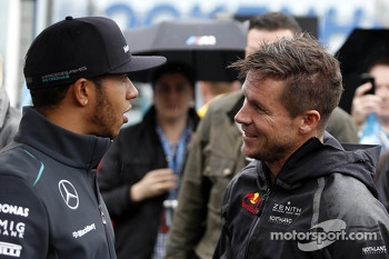 Lewis Hamilton, Mercedes AMG F1 and Felix Baumgartner, Red Bull Stratos