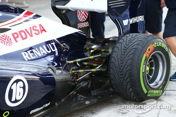 Sensors on the rear suspension of the Williams FW35