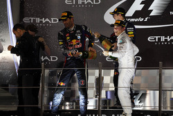 Race winner Sebastian Vettel, Red Bull Racing, second place Mark Webber, Red Bull Racing, third place Nico Rosberg, Mercedes AMG F1