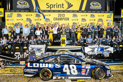 Championship victory lane: NASCAR Sprint Cup Series 2013 champion 2013 Jimmie Johnson, Hendrick Motorsports Chevrolet celebrates