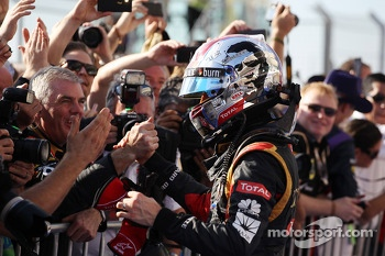 Romain Grosjean, Lotus F1 Team celebrates his second position with the team in parc ferme