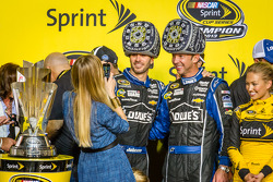 Championship victory lane: NASCAR Sprint Cup Series 2013 champion 2013 Jimmie Johnson, Hendrick Motorsports Chevrolet with wife Chandra and crew chief Chad Knaus