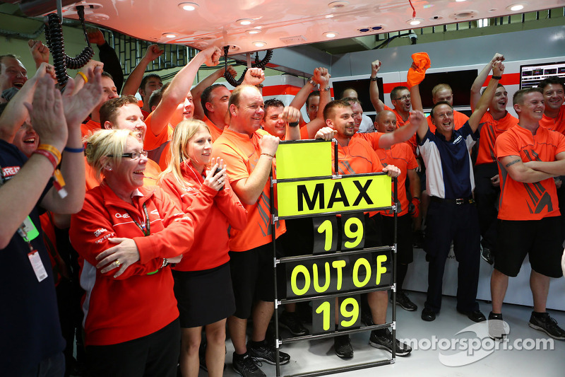 The Marussia F1 Team celebrate tenth position in the Constructors Championship and a 100% scoring record for Max Chilton