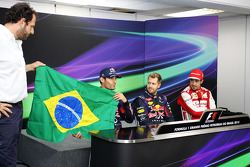 Mark Webber, Fernando Alonso, Ferrari, and Matteo Bonciani, FIA Media Delegate