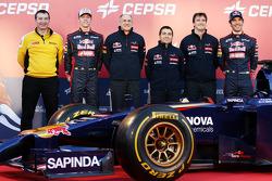 (L to R): Rob White, Renault Sport Deputy Managing Director, with Daniil Kvyat, Scuderia Toro Rosso;  Franz Tost, Scuderia Toro Rosso Team Principal; Luca Furbatto, Scuderia Toro Rosso Chief Designer; James Key, Scuderia Toro Rosso Technical Director; and