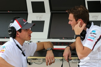 Adrian Sutil, Sauber F1 Team and Giedo van der Garde, third driver, Sauber F1 Team