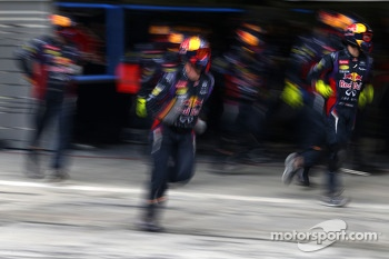 Red Bull Racing mechanics during pitstop practice