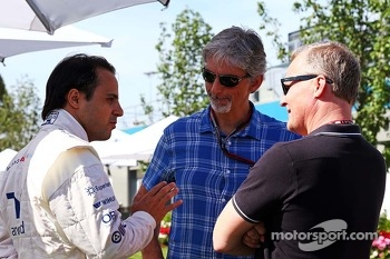 Felipe Massa, Williams with Damon Hill, Sky Sports Presenter and Johnny Herbert, Sky Sports Presenter