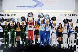 P class podium: winners Marino Franchitti, Memo Rojas, Scott Pruett, second place Ryan Dalziel, David Brabham, Scott Sharp, third place Sébastien Bourdais, Joao Barbosa, Christian Fittipaldi