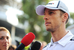 Jenson Button, McLaren with the media
