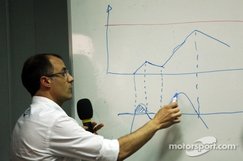 Fabrice Lom, FIA Head of Power Train gives a briefing to the media on fuel sensors