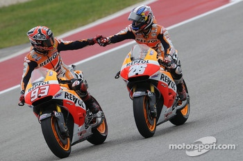 Race winner Marc Marquez with second place Dani Pedrosa, Repsol Honda Team