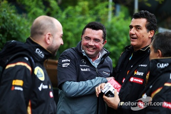 (L to R): Gerard Lopez, Lotus F1 Team Principal with Eric Boullier, McLaren Racing Director and Federico Gastaldi, Lotus F1 Team Deputy Team Principal