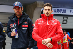 Jean-Eric Vergne, Scuderia Toro Rosso with Jules Bianchi, Marussia F1 Team on the drivers parade.