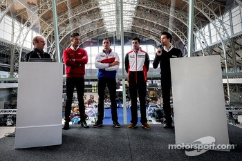 Andre Lotterer, Stéphane Sarrazin, Neel Jani and Frederic Makowiecki during the press conference