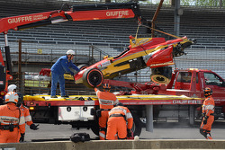 The car of Sebastian Saavedra, KV Racing Technology Chevrolet after stalling on the grid