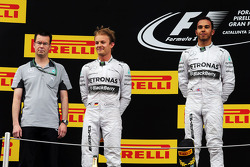 Podium: race winner Lewis Hamilton, second place Nico Rosberg