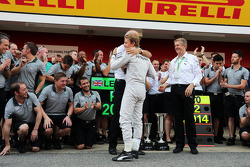 Nico Rosberg, Mercedes AMG F1 celebrates his second position with Dr. Dieter Zetsche, Daimler AG CEO and the team