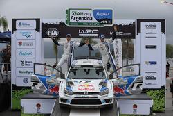 Podium: Sébastien Ogier and Julien Ingrassia, Volkswagen Polo WRC, Volkswagen Motorsport