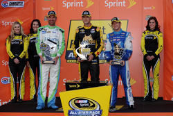 Winner Clint Bowyer, second place A.J. Allmendinger and fan vote winner Josh Wise