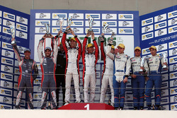 ELMS: Podium: race winners Simon Dolan, Harry Tincknell, Filipe Albuquerque, second place Jan Charouz, Vincent Capillaire, third place Nelson Panciatici, Oliver Webb, Paul Loup Chatin