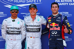Qualifying top three in parc ferme, Mercedes AMG F1, second; Nico Rosberg, Mercedes AMG F1, pole position; Daniel Ricciardo, Red Bull Racing, third