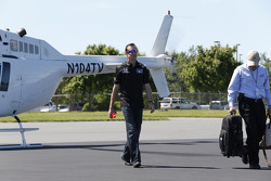 Kurt Busch arrives from Charlotte Motor Speedway before boarding a plane to Indianapolis