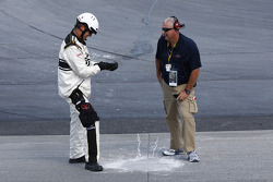 Officials work to replace concrete near turn 2