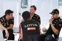 Matthew Carter, Lotus F1 Team CEO with Federico Gastaldi, Lotus F1 Team Deputy Team Principal; Alan Permane, Lotus F1 Team Trackside Operations Director; and Pastor Maldonado, Lotus F1 Team