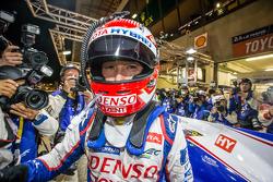 Pole winner Kazuki Nakajima celebrates
