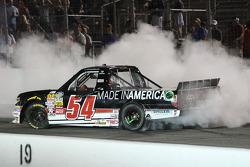 Race winner Darrell Wallace Jr. celebrates