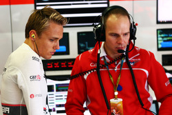 Max Chilton, Marussia F1 Team with Gary Gannon, Marussia F1 Team Race Engineer