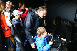 Young fans at a simulator