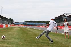 Lewis Hamilton, Mercedes AMG F1 takes a penalty kick
