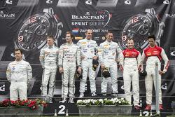 Podium: winners Hari Proczyk, Jeroen Bleekemolen, second place Maximilian Buhk, Maximilian Götz, third place Cesar Ramos, Laurens Vanthoor
