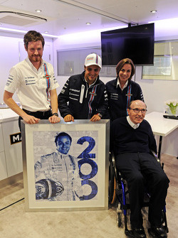 Felipe Massa, Williams celebrates his 200th GP with Rob Smedley, Williams Head of Vehicle Performance, Williams Team Owner, and Claire Williams, Williams Deputy Team Principal