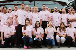 Jenson Button, McLaren; Ron Dennis, McLaren Executive Chairman; Kevin Magnussen, McLaren; Eric Boullier, McLaren Racing Director; Samantha Button; Jessica Michibata, and the McLaren team wear Pink for Papa, in tribute to the late John Button