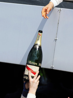 Valtteri Bottas, Williams celebrates his second position on the podium