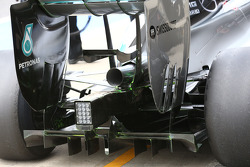 Mercedes AMG F1 W05 with flow-vis paint on the rear diffuser