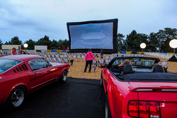 Setting up an outdoor movie