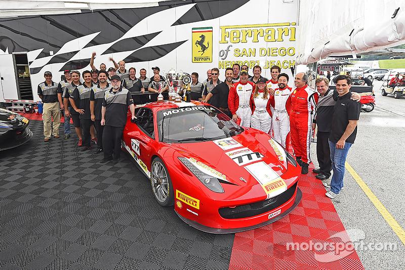 Team celebration for #777 Ferrari Quebec Ferrari 458: Emmanuel Anassis